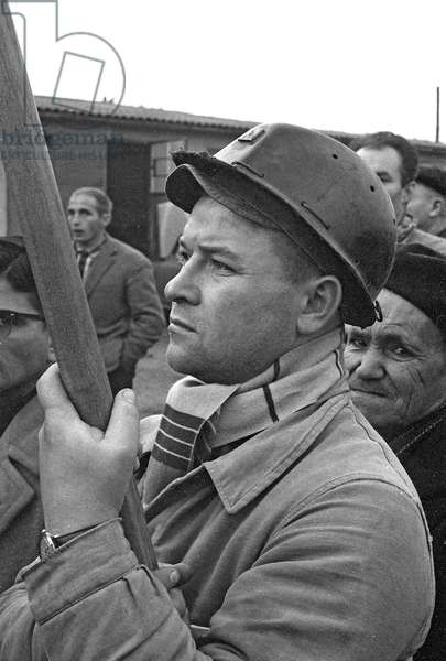 Miners on strike in Trieux, France, 1963 (b/w photo)