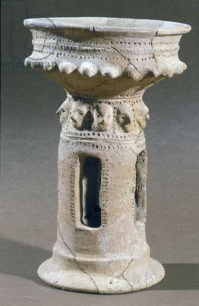 Incense burning stand found in the hills near Hebron, Israel, c.9th-8th century BC (stone)