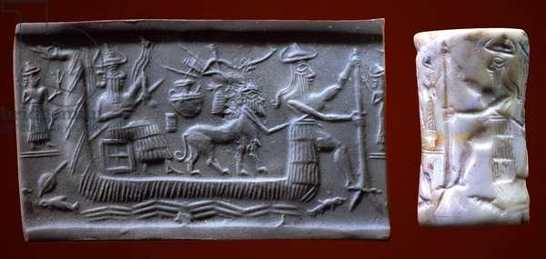 Akkadian seal depicting the Mesopotamian Sun God in a boat, Tell Asmar, c. 2200 BC