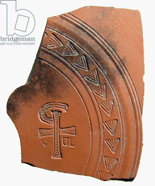 Pottery sherd with a combination of letters that forms an abbreviation for the name of Jesus Christ, North Africa, c.4th century AD (ceramic)