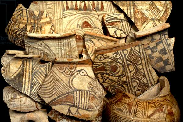 Philistine pottery decorated with typical colour designs of fish and birds, from Tel Kasil, Israel, c.1099-900 BC (ceramic)