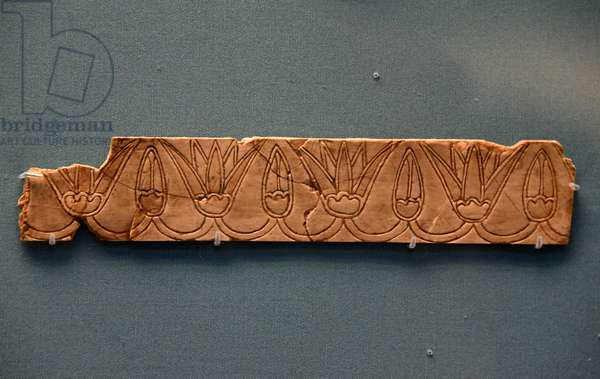 Plaque depicting a geometric arrangement of Lotuses, Nimrud, Mesopotamia, 9th-8th century BC (ivory)