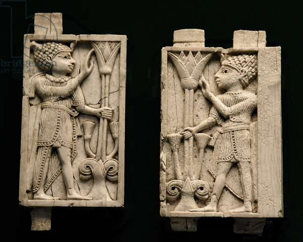 Plaques depicting an Egyptian man holding a lotus flower, Nimrud, Mesopotamia (today Iraq) c.9th-8th century BC (ivory)