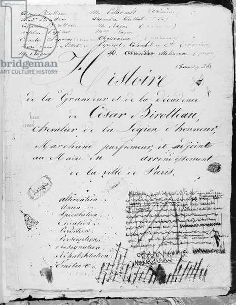 Title page of 'Histoire de la Grandeur et de la Decadence de Cesar Birotteau', 1839 (pen & ink on paper) (b/w photo)