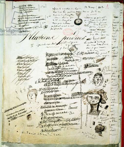 Titlepage of 'Les Illusions Perdues' with annotations by the author, c.1830-40 (pen & ink on paper)