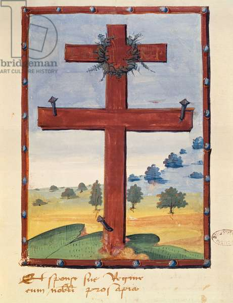 Cross of Lorraine, miniature from a manuscript relating to Rene II (1451-1508) Duke of Lorraine (vellum)