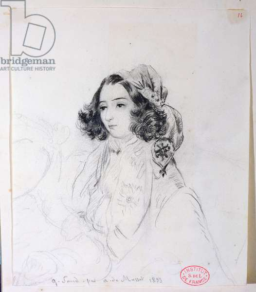 George Sand (1804-76) Wearing a Headscarf, 1833 (pencil on paper)