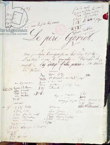 Manuscript page of 'Le Pere Goriot' (pen & ink on paper) 88; 'La Comedie Humaine';