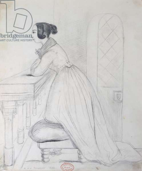 George Sand (1804-76) kneeling on a pouffe and with her elbows on a balustrade, 1833 (pencil on paper)