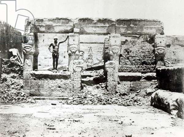 Temple of Hathor at Dendarah, 28th May 1850 (b/w photo)