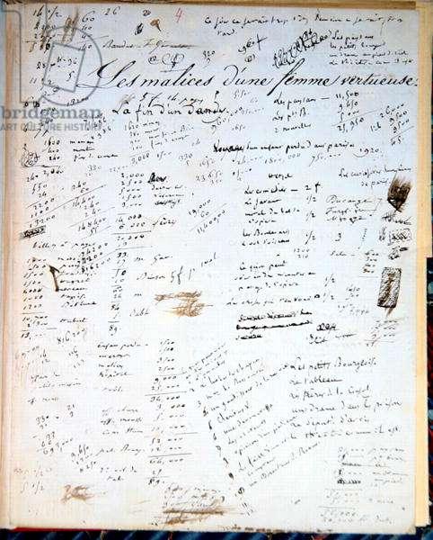 'Les Malices d'une femme vertueuse', page of accounts from an autograph manuscript of 'Adam le Chercheur', c.1824 (pen & ink on paper)