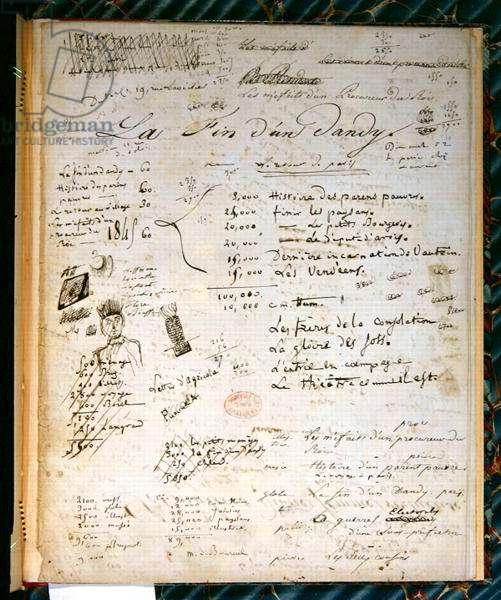 'La Fin d'un Dandy', part of the manuscript of Balzac's philosophical story 'Adam le chercheur', c.1824 (pen & ink on paper)