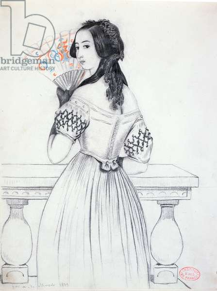 George Sand (1804-76) with a fan, 1833 (pencil on paper)