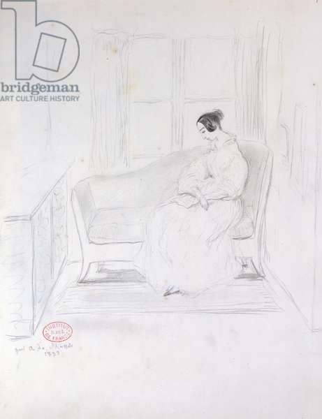 George Sand (1804-76), reading on a sofa beside a window, 1833 (pencil on paper)