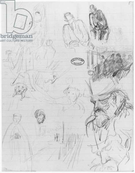 Page of a sketchbook, 1890-1940 (pencil on lined paper) (b/w photo)