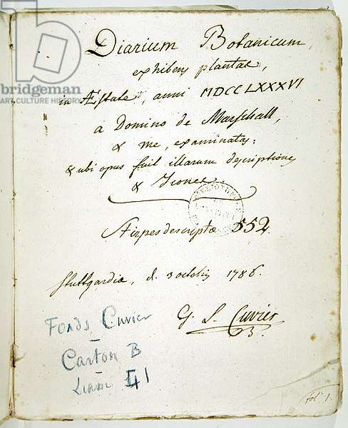 Cover page of 'Diarium Botanicum' with Cuvier's signature, 1786 (pen & ink on paper)