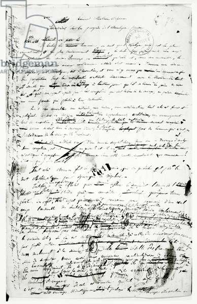 Manuscript on the advances made in pure analysis, c.1830 (pen and ink on paper) (b/w photo)