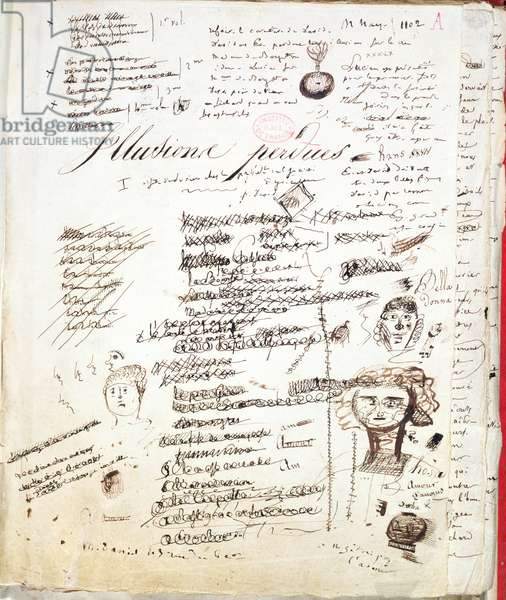 Title page of 'Les Illusions Perdues', c. 1830-40 (pen and ink on paper)