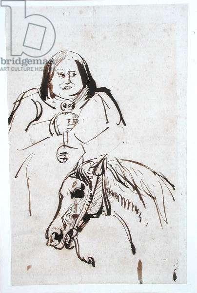 Honore de Balzac (1799-1850) and his Horse (pen & ink on paper)
