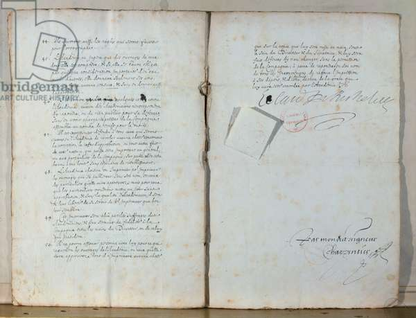 Two pages from the statutes of the French Academy, 1635 (ink on paper) (see also 179947)