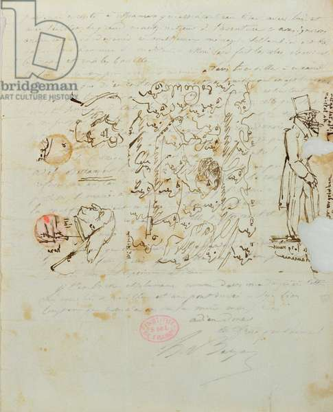 Letter with drawing sent to Balzac's sister Laure, 1821 (pen and ink on paper)