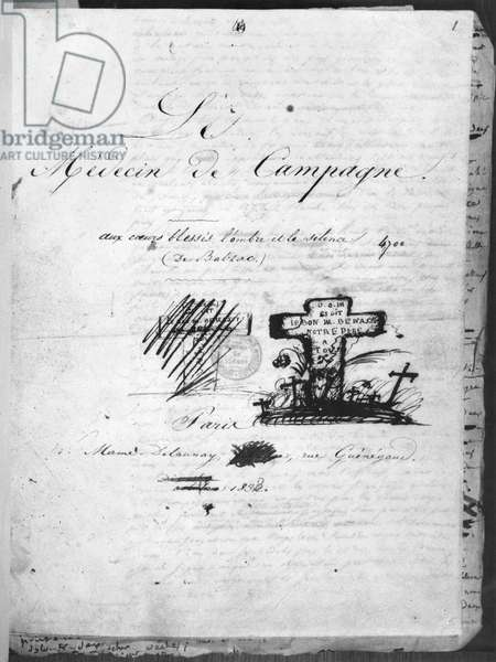 Title page of 'Le Medecin de Campagne', 1833, published by Mame Delaunay, Paris (pen & ink on paper) (b/w photo)