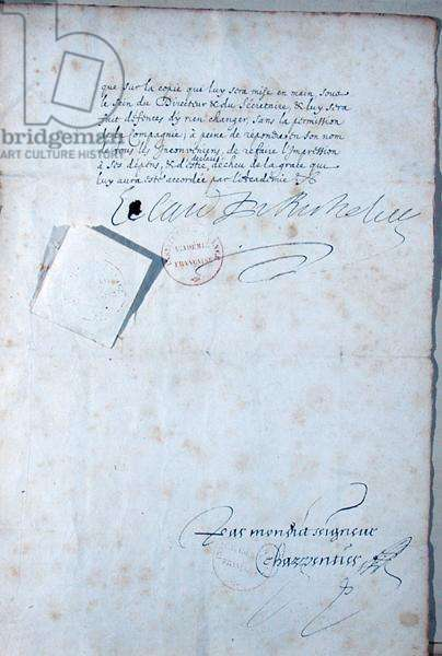 Last page of the statutes of the French Academy, 1635 (ink on paper) (detail of 179946)