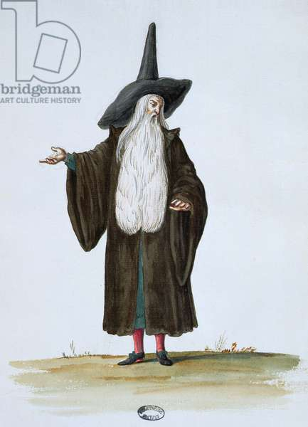 A Magician, theatrical costume design for the celebrations and parties of Louis XIV (w/c on paper)