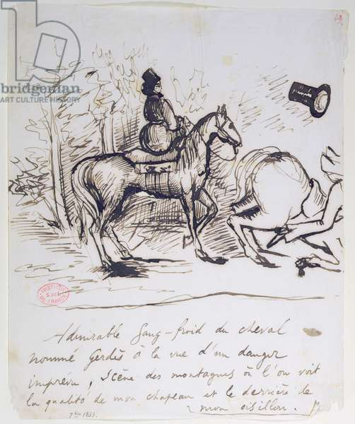 George Sand's horse displaying sangfroid behind the stumbling horse of Alfred de Musset (1810-57), September 1833 (pen & ink on paper)