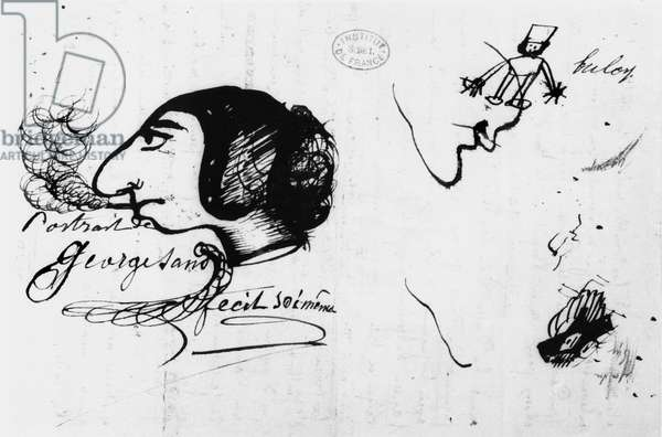 George Sand smoking (1804-76) caricatured by herself (pencil on paper)