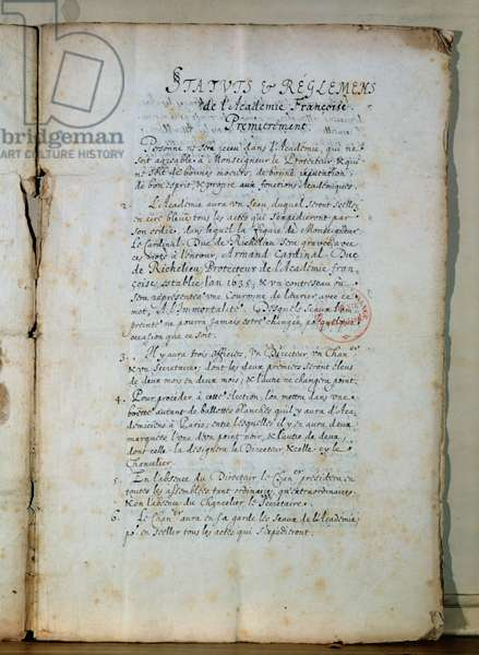 First page of the statutes of the French Academy, 1635 (ink on paper) (see also 179947)