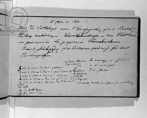 Fol.15 'To be made in 1841...', from 'Notes for the filing and the completion of my works' (pen and ink on paper)