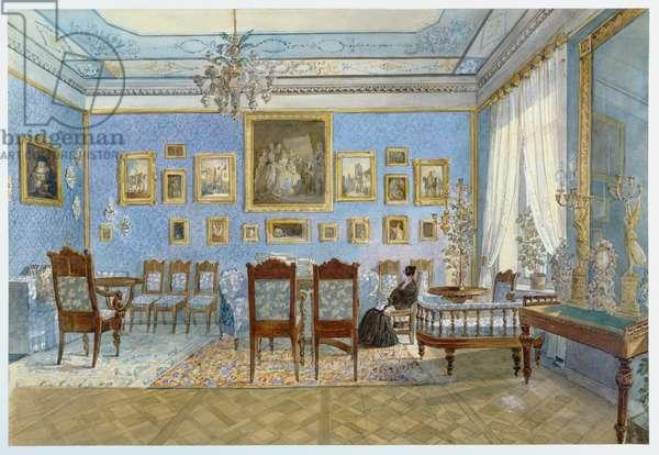 The Salon of Madame Hanska (1801-82) in St. Petersburg (w/c on paper)