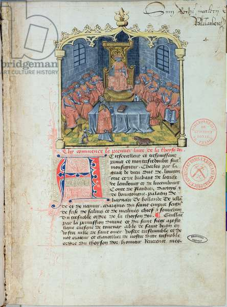 Ms 363 Charles the Bold (1433-77) Duke of Burgundy and the Knights of the Order of the Golden Fleece, from 'The History of the Golden Fleece' by Guillaume Filastre, mid 15th century (vellum) (see also 173769)