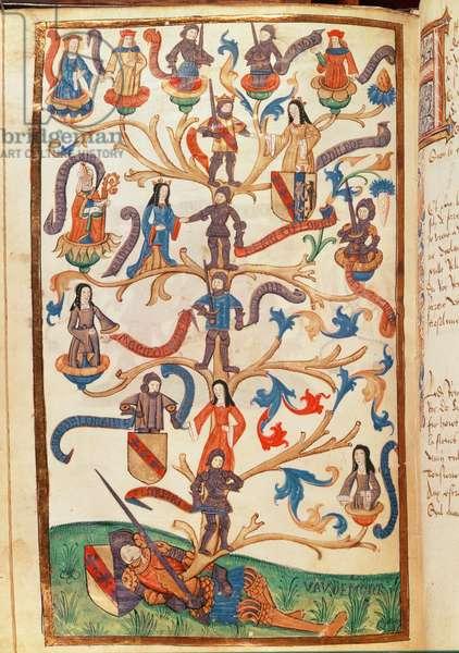 The Genealogy of Rene II (1451-1508) Duke of Lorraine (vellum)
