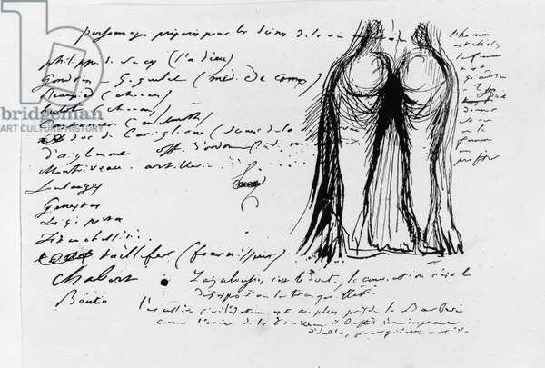 Page of the album 'Pensees, Sujets, Fragments', 1833 (pen & ink on paper) (b/w photo)