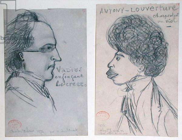 Portraits of either Charles Nodier (1780-1844) or Gustave Planche (1808-57) and Alexandre Dumas Pere (1802-70), 1834 (pencil on paper)