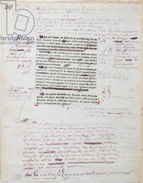 Proof of printed page with annotations by the author (pen & ink on paper)