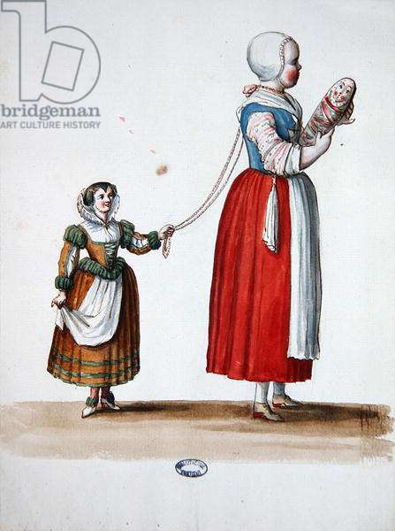 Two Young Girls, theatrical costume design for the celebrations and parties of Louis XIV (w/c on paper)