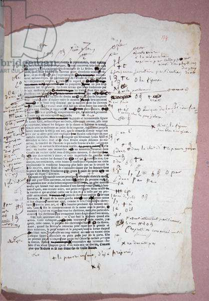 Proof of page 174 of 'Modeste Mignon' with annotations and corrections by the author (pen & ink on paper)