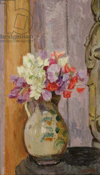 Sweet peas in jug with Indian Bhodisattva, c.1945-50 (oil on canvas)