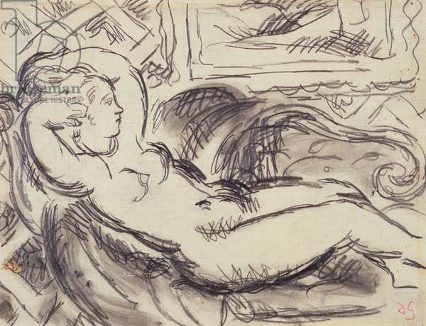 Nude on a Chaise Longue, 1950s (pencil & wash on paper)