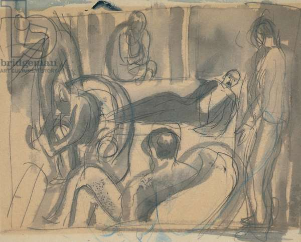 Maynard Keynes, Lytton Strachey and Others, c.1916 (pencil & w/c on paper)