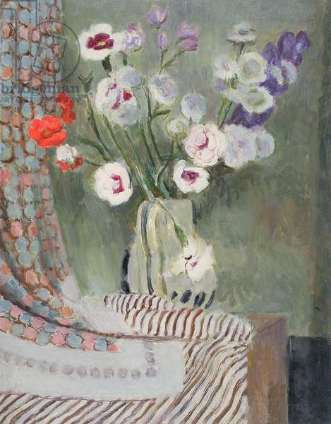 Pinks in a Grey Jug, c.1950 (oil on canvas)