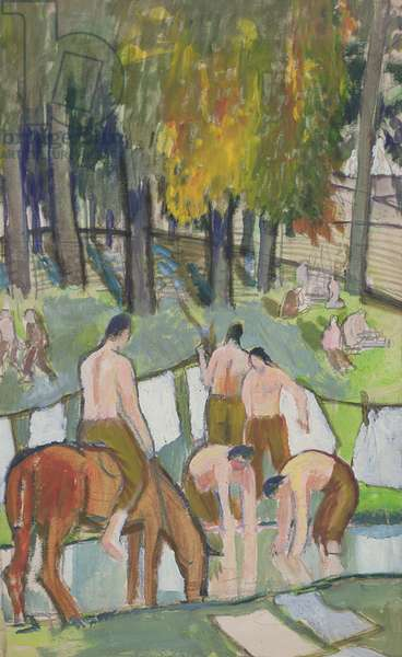 Soldiers at a Stream, 1920 (w/c on paper)