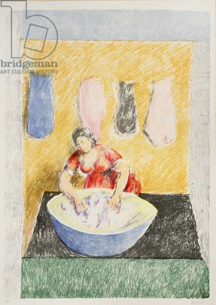 Washerwoman, 1974 (colour litho)