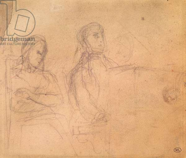 Study for a Portrait of Frederic Chopin (1810-49) and George Sand (1804-76) (pencil on paper)