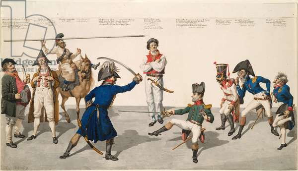 Fencing lesson, 1814 (w/c on paper)