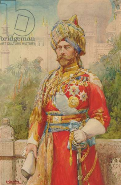 Portrait of King George V at Delhi, 1915 (w/c on paper)