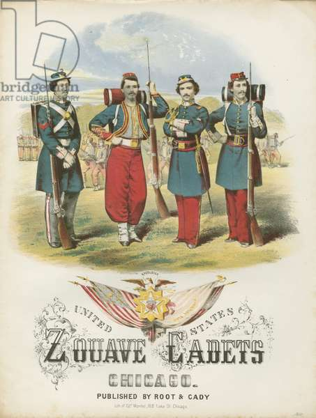 Zouave Cadets Quickstep sheet music cover (colour litho)